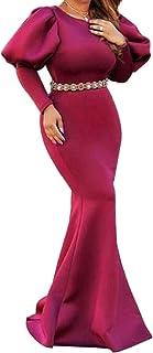 Keaac 女性ロングスリーブfishtailクルーネックイブニングプロムパーティーマキシドレスガウンドレス