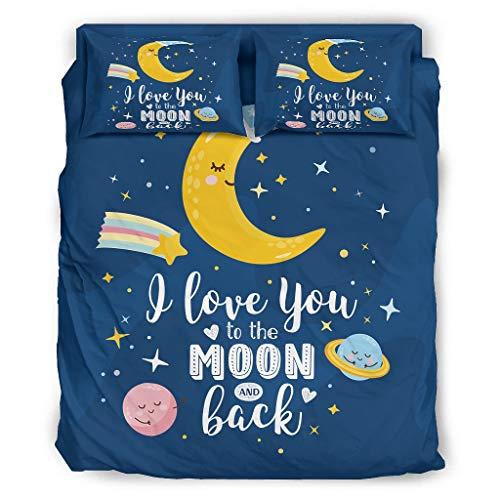 Juego de sábanas de 4 piezas, con texto 'I Love You To The Moon And Back', transpirable, sin arrugas, para el hogar, dormitorio, blanco, 203 x 230 cm