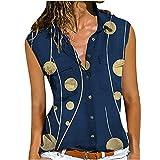 WANGTIANXUE Blusentop sin mangas para mujer, camiseta de verano con botones, parte superior para mujer, elegante diseño floral, polo, blusa de cuello alto, blusa y blusa sin mangas azul marino XXL
