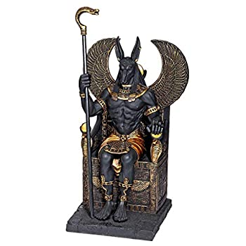 Design Toscano WU76733 Egyptian God Anubis Sitting on The Throne of The Underworld Statue 10 Inch Black and Gold