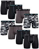 Reebok Men's Performance Boxer Briefs with Comfortable Contour Pouch (8 Pack) (Black/Print/Magnet, Large)