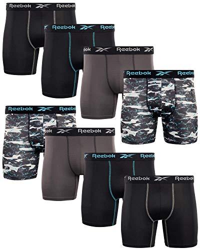Reebok Men's Performance Boxer Briefs with Comfortable Contour Pouch (8 Pack) (Black/Print/Magnet, Medium)