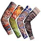 SS_Enterprises_ Nylon Stretch Cloth Arm Art Tattoo Costume Sleeves for Bike Lovers (Multicolour) - 1 Pair