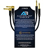 Audioblast - 2 Units - 12 Inch - HQ-1 - Ultra Flexible - Dual Shielded (100%) - Guitar Instrument Effects Pedal Patch Cable w/Eminence Straight & Angled Gold ¼ inch (6.35mm) TS Plugs & Double Boots