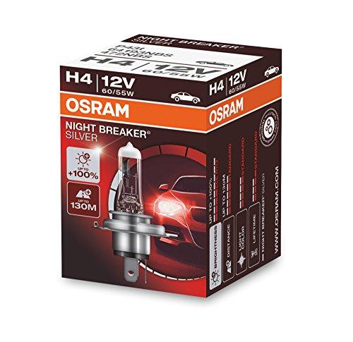 Osram Night Breaker Silver H4, +100% mehr Helligkeit, Halogen-Scheinwerferlampe, 64193NBS, 12V Pkw, Faltschachtel (1 Lampe)