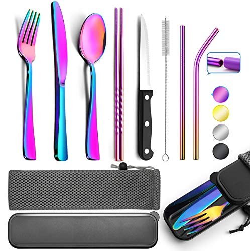 Reusable Utensils with Case - Travel Utensils - Black Portable Flatware Stainless Set with Case and Straw, Straight Straw, Knife, Fork, Spoon (Rainbow)