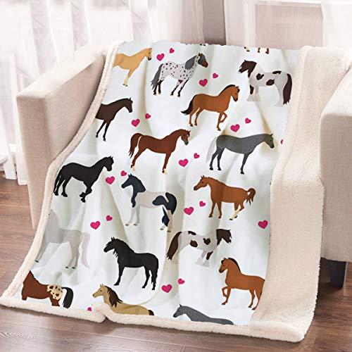 ARIGHTEX Cute Horse Blanket Throw for Kids Girls Ponies Heart Fleece Blanket Winter All Season Plush Blanket Couch Sofa Throws Cartoon Farm Animals Sherpa Blanket Horse Gifts for Teenage (50'x60')