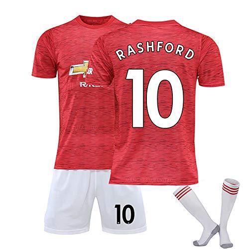 Camiseta De Fútbol Pogba 6 Rashford 10 De Manchesst, Nueva Camiseta De 2021, Kits De Calcetines con Nombre Y Número, Traje De Competición De Camisetas De Fútbol Pers Red No. 10-S