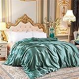 Juego de ropa de cama de seda de satén de lujo, funda de edredón y sábana bajera para cama doble, tamaño Queen King 21 Queen Flat 4 piezas