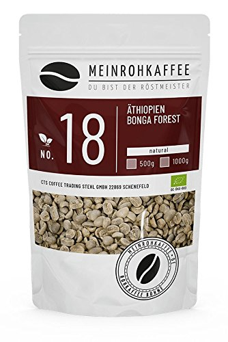 Café verde - Etiopía Bonga Forest (granos de café verde) - aroma fuerte y picante y plenitud única - 500 g