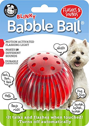 Pet Qwerks Blinky Babble Ball Flashing Interactive Talking Dog Toy for Medium Dogs