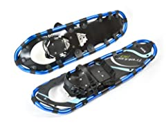 Light weight and strong aluminum frame features an ergonomic design to ensure comfortable and easy walks UV resistant polyethylene decking, easy-to-use dual ratchet bindings and heel straps with quick release buckles Heavy duty aluminum crampons, rot...