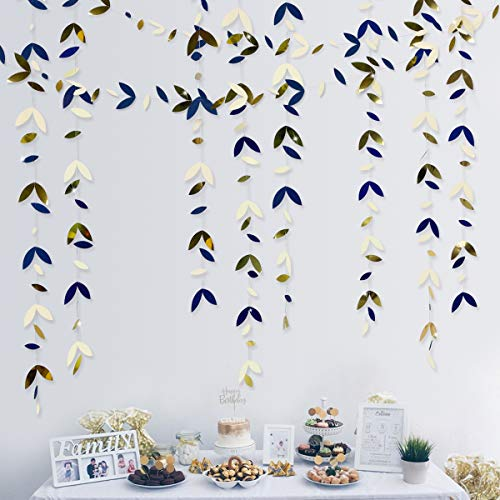 52 Ft Navy Blue Beige Gold Party Decorations Leaf Garland Kit Paper Hanging Leaves Streamer Banner for Birthday Bachelorette Engagement Anniversary Wedding Bridal Shower Party Supplies (4 Packs)
