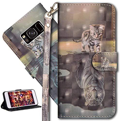 HMTECH Galaxy S8 Hülle Luxus 3D Süßes Cat Tiger Flip Standfunktion Karten Slot Magnetverschluß Brieftasche Taschen Schalen Handy Ledercase für Galaxy S8,Cat Tiger