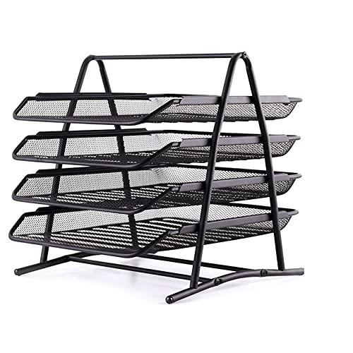 Revistero Multi-Capa Acabado Metal Metal Malla de Malla Tray A4 Rack Multi-Layer Data Storage Storage Suministros de Oficina Caja de Almacenamiento de la Oficina Revistero (Size : 4 Layer)