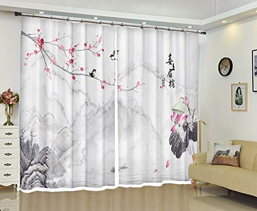 MAOYYM2 wit gordijn pruim bloesem afdrukken verduistering 3D venster gordijn woonkamer bruiloft H85 X W105Inch Kleur: wit