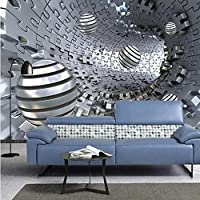 Iusasdz カスタム壁画壁紙3D抽象的なトンネルスペースステレオメタルボールフレスコリビングルーム研究自己粘着性の背景壁の装飾-400X280Cm