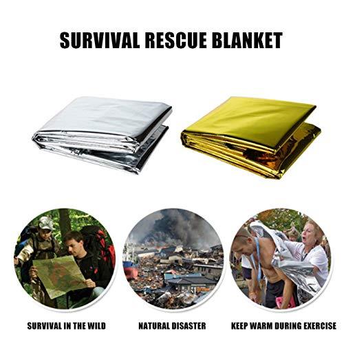 Senrise Medi Notfallfolien-Decke, reflektierend und thermisch, Notfall, Rettungsdecke, Überlebens-Decken für Camping, Outdoor, Wandern, Survival, Marathons (1/2/5/10er-Pack), gold