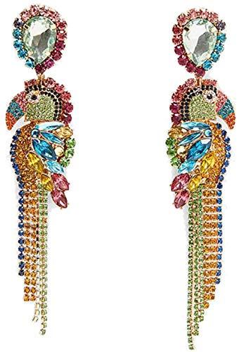 14 Pares conjunto de Aretes Colgantes Y Colgantes de declaración Bohemia Pendientes de Borla de Cristal de Diamantes de Imitación Multicolor Pendientes de Moda