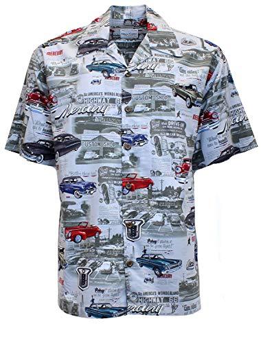 David Carey Ford Mercury & Comet Camp Shirt – Retro Inspired Button Up Collared Short Sleeve Charcoal Grey Club Shirt, XL