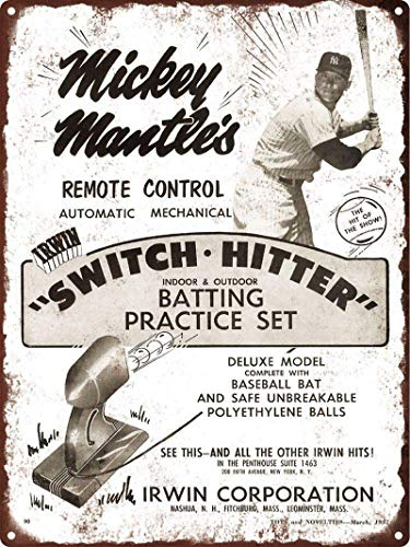 New Mantle Switch Hitter Baseball Iron Poster Placa de puerta de pared de hojalata Letrero de chapa de acero Letrero de pared Decoraciones artísticas para Cafe Bar Park Hotel,30x40cm