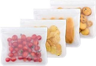 WeTest PEVA Reusable Food Bags,4-Pack Leakproof Ziplock Gallon Freezer Bags for Sandwich,Fruit,Snack,Meat,Meal Prep,Home Organization