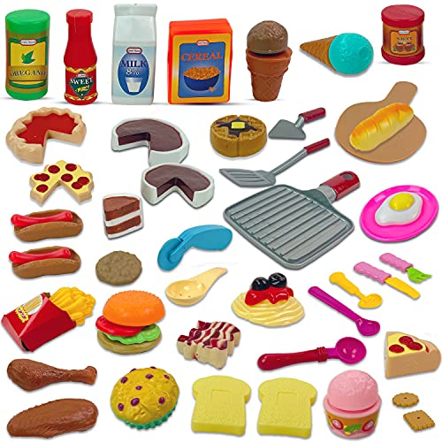 Liberty Imports Gourmet 50 Piece Pretend Play Food Assortment Toy Set for Kids with Pan, Kitchen Tools, Breakfast, Fast Food, Ice Cream, Desserts
