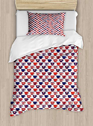 ABAKUHAUS Londen Dekbedovertrekset, Flag Tea Party Cups, Decoratieve 2-delige Bedset met 1 siersloop, 130 cm x 200 cm, Vermilion Navy Blue