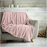 Hachete Waffle Honeycomb - Manta suave y cálida para sofá cama, cama (125 x 150 cm), color rosa