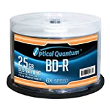Optical Quantum OQBDR06WIP-H-50 6X 25 GB BD-R White Inkjet Printable Single Layer Blu-Ray Recordable Blank Media, 50-Disc Spindle