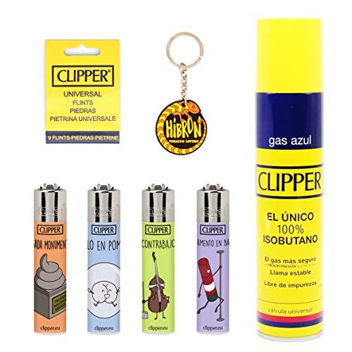 HIBRON Clipper 4 Mecheros Encendedores Diversos Surtidos Bonitos, 1 Carga Gas Encendedor Clipper 300 Ml,9uds De Piedra Clipper Y 1 Llavero Gratis 1-10003-12