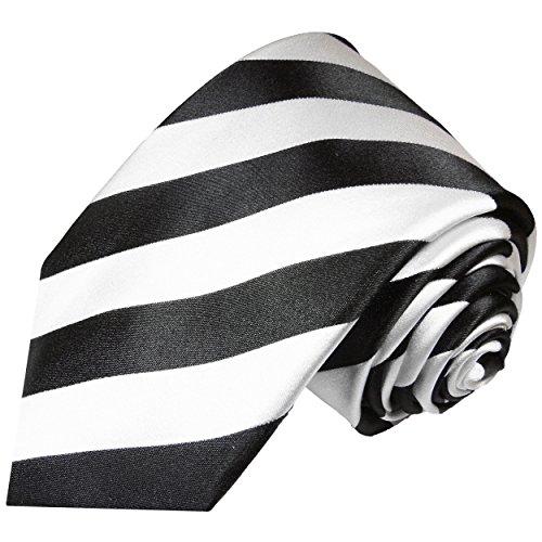 Paul Malone Krawatte schwarz weiß gestreifte Seidenkrawatte normallange 150cm