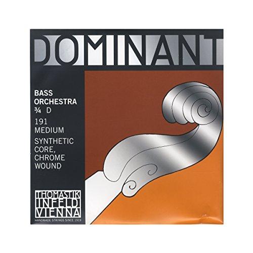 Thomastik Cuerda para Contrabajo 3/4 Dominant - cuerda Re núcleo sintético, entorchado cromo, afinación para orquesta, medio