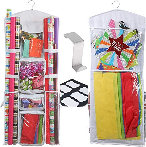 Clorso Hanging Gift Wrap Organizer: 40 Inch, Double Sided Wrapping Paper Storage Organizer - Extra Large and Easy To Use Clear Storage Bag with Hanging Hook, Labels, and Zippered Pockets - 8 Pockets