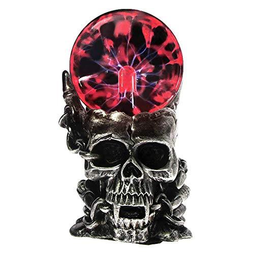 Wghz Magic Skull Head Glasskulptur Statue Lightning Plasma Ball Touch Sensitive Vampire Skull Head Dekorative Akzentfigur