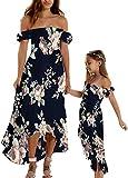 Loalirando Madre e hija vestidos largos elegantes vestidos de verano sin tirantes vestido de princesa para niña o mujer elegantes, multicolor, 4 años
