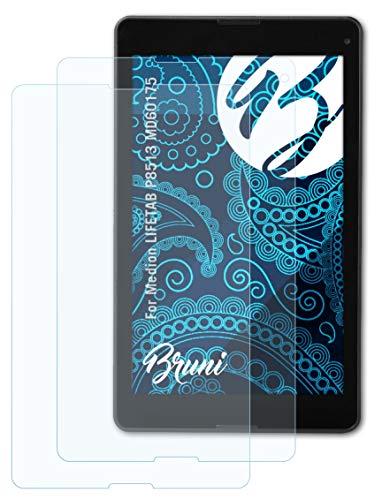Bruni Schutzfolie kompatibel mit Medion LIFETAB P8513 MD60175 Folie, glasklare Bildschirmschutzfolie (2X)