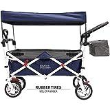 Creative Outdoor Push Pull Collapsible Folding Wagon Stroller Cart for Kids   Sun & Rain Shade   Beach Park Camping Tailgate & Garden   Navy Blue