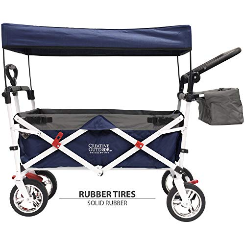 Creative Outdoor Distributor Push Pull Collapsible Folding Wagon Stroller for Kids, with Canopy (Navy)