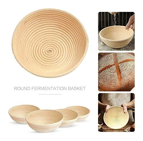 Kitchen Bread Basket Rattan Proofing Basket Liner Fruit Tray Deeg Voedsel Opslag Container met Doek Liner, Rattan, bruin (Size : 18x9cm)