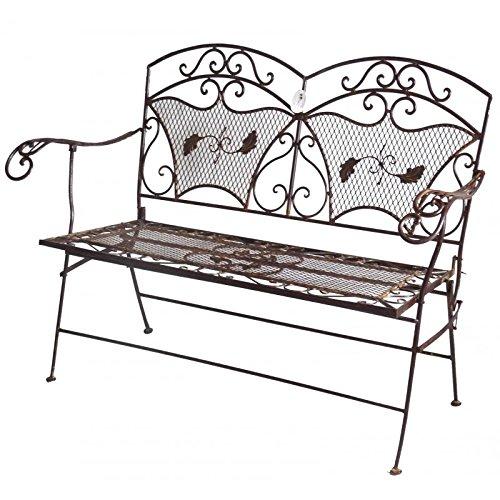 L'Héritier Du Temps zitbank, tuinstoel, voor 2 personen, opvouwbaar, van ijzer, bruin, 60 x 95 x 122 cm
