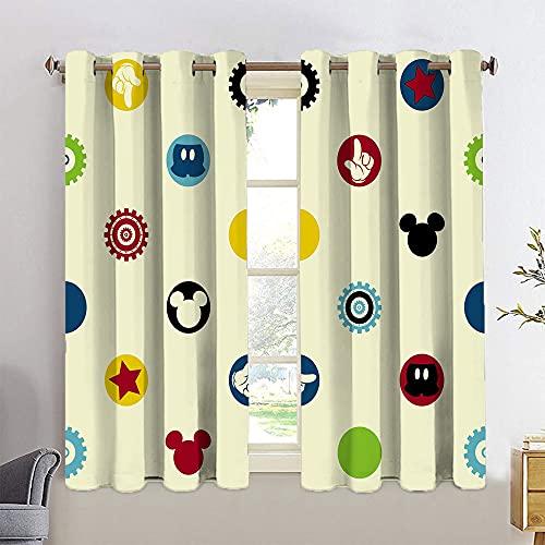 Juego de cortinas opacas con aislamiento térmico de Mickey Minnie Mouse con ojales en la parte superior de 42 x 63 cm