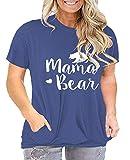 Plus Size Mama Bear Shirt Womens Mom T Shirts Graphic Tee Cute Tshirt Tunic Tops Pockets Blue