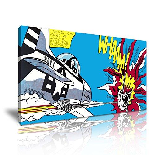 Whaam! Dogfight Roy Lichtenstein Pop Art Canvas Muurschildering Afbeelding Print 82cm x 41cm