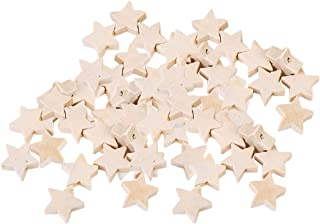 LoveinDIY 50 Pack Natural Wood Beads Unfinished Star Shape Wooden Loose Beads Wood Spacer Beads for Craft Making, 2.5mm Hole