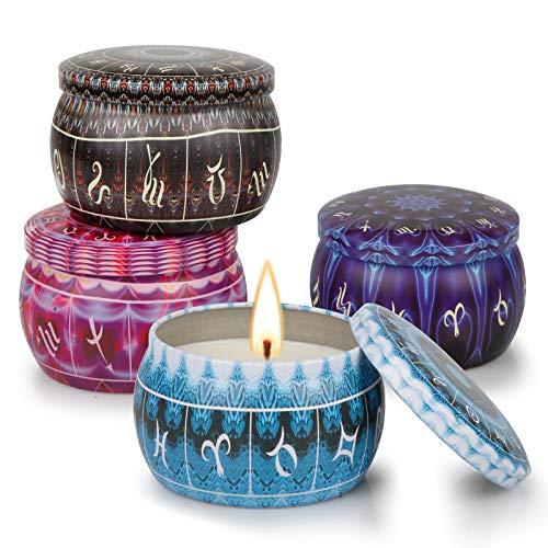 Velas Aromaticas, Bellababy Velas Perfumadas Paquete de 4 , 4,4 oz por Frasco, Hecho de Cera de Soja, Velas Aromaticas para Regalo, para San Valentín, Navidad, Cumpleaños, Día de la Madre, Baño y Yoga