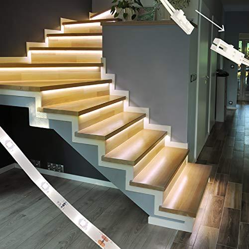 proventa® Iluminación LED para escaleras, juego completo para 15 escalones, 2.700K blanco cálido, regulable, conexión enchufable fácil de instalar