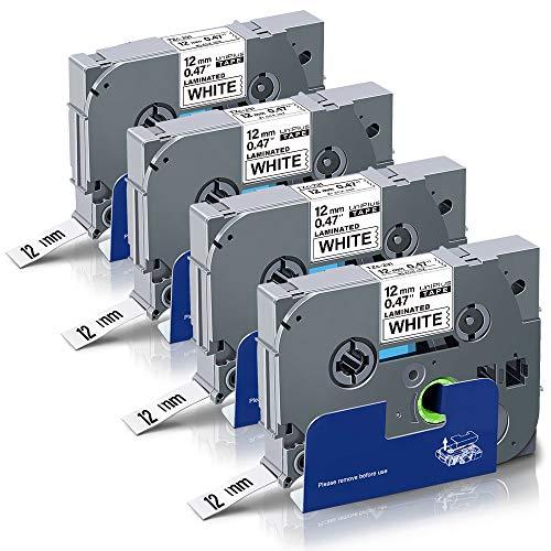 UniPlus Cinta de Etiquetas Compatible para Brother P-Touch Tze-231 Tze231 12mm Casetes de Cinta Laminada para Brother P-Touch PT-1000 P700 1280 GL-H100 GL-H105, 12mm x 8m, Negro sobre Blanco, 4-Pack