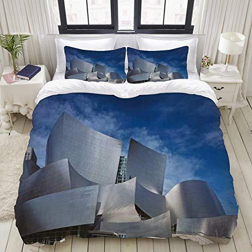 Yaoniii Bettwäsche 3 Teilig Bettgarnitur,Walt Concert Hall Eigenartiges hochmodernes großes Gebäude Los Angeles New Landmark Music,Gemütlich 3D Mikrofaser Bettbezug Set + 2 Kissenbezug 240 x 260 cm