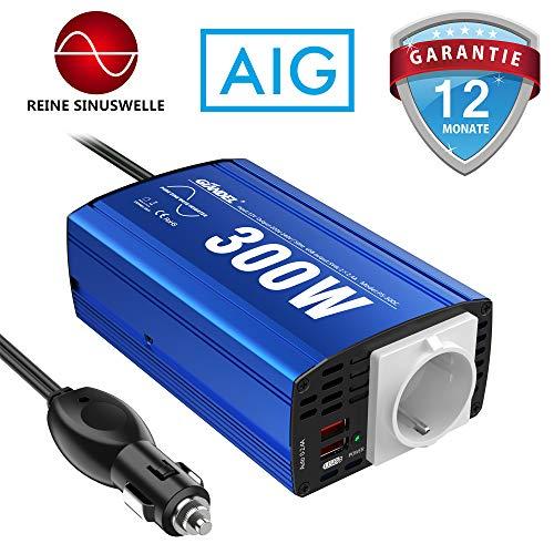 GIANDEL Reiner Sinus Wechselrichter 300W Kfz-Adapter Spannungswandler 12V DC 230V AC mit 4.8A Dual USB und Steckdose Für Tablets Laptops Smartphones CPAP
